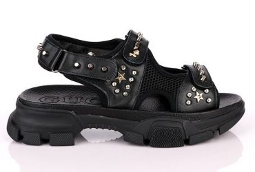 GG Men's Leather Studded Sandals with Chunky Heel