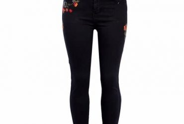 Rose Embroidered Skinny Jeans – Black