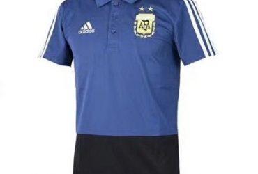Argentina Football Team Navy Blue Black Prematch Polo