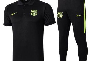 Barcelona Prematch Polo Tracksuit | Black