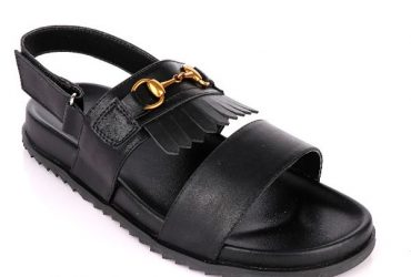GG Fringe Sandal | Black