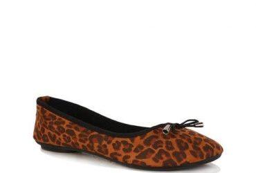 Ladies Animal Print Ballet Flats – Brown & Black