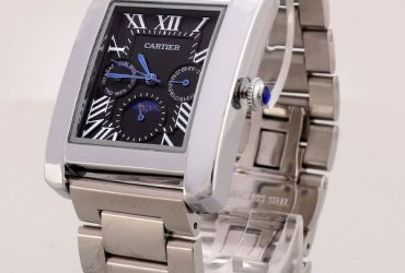 Cartier Black Dial Silver Casing Bracelet Watch