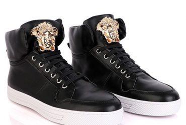 Medusa Logo Luxury High Top Sneakers | Black