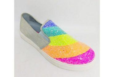 Girls Denim Rainbow Sneakers