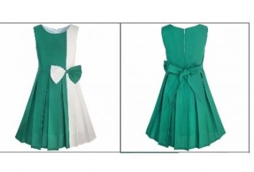 Block Contrast Bow Tie Dress – Green & White