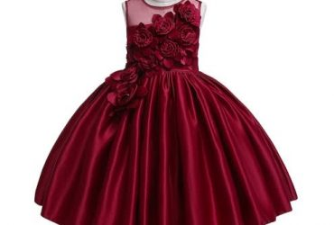 AWW 3d Floral Princess Dress- Red