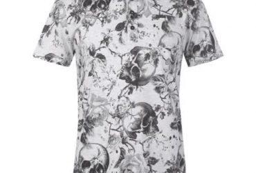 Firetrap Printed Polo Shirt Ecru