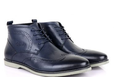 Clarks Ankle Wingtip Boots | Navy Blue