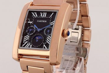 Cartier Black Dial Rose Gold Casing Bracelet Watch