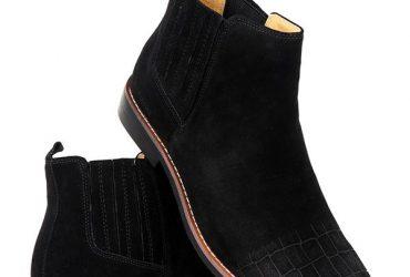 Billionaire Croc Design Suede Boots  Black