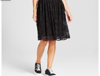 Lace Midi Skirt- Black