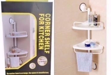 Bathroom & Kitchen Corner Shelf – 2 Tiers
