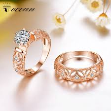 Engagement / Wedding Rings Sets Rose Gold Color