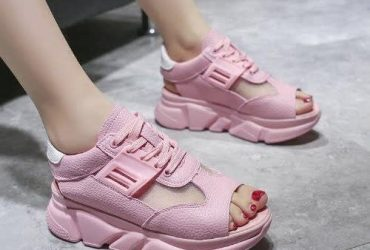 Open Toe Sneakers For Ladies – Yellow and Pink