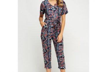Multi Printed Cropped Jumpsuit