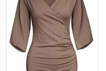 Brown V Neck Slit Sleeve Wrap Top – Brown