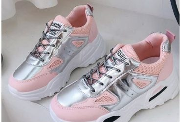 Female Sneakers With Pink And Silver Details