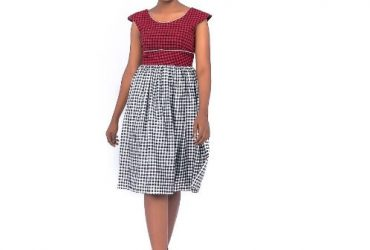 Red & Black Check Fitted Bodice On Wh