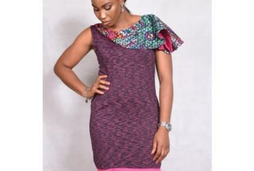 Ankara Cape Fitted Jersey Dress. Lg/f27.